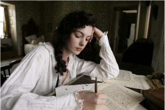 Anne Hathaway as Jane Austen writing